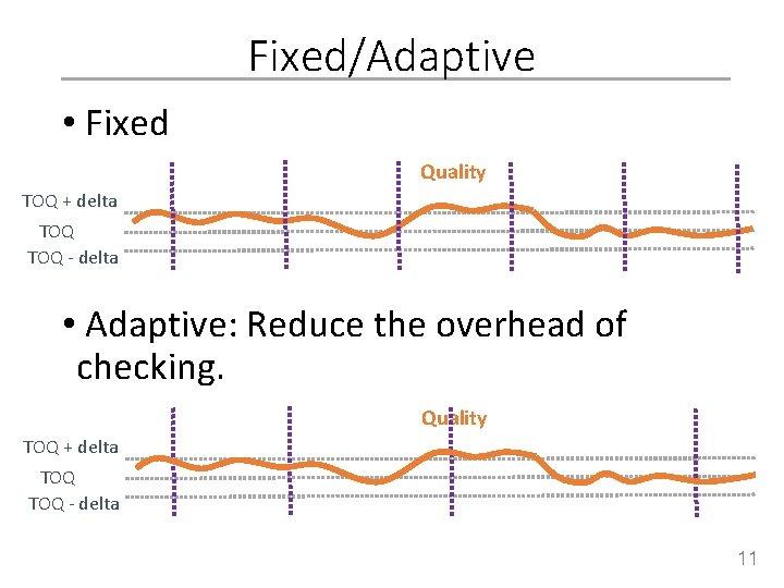 Fixed/Adaptive • Fixed Quality TOQ + delta TOQ - delta • Adaptive: Reduce the