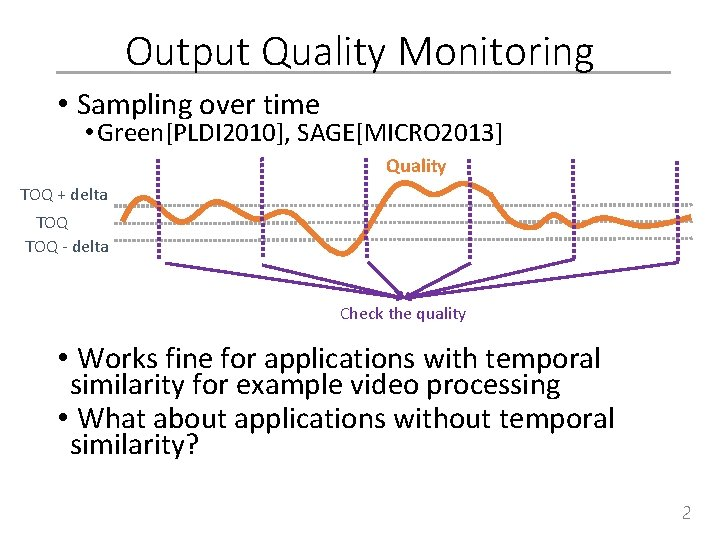 Output Quality Monitoring • Sampling over time • Green[PLDI 2010], SAGE[MICRO 2013] Quality TOQ
