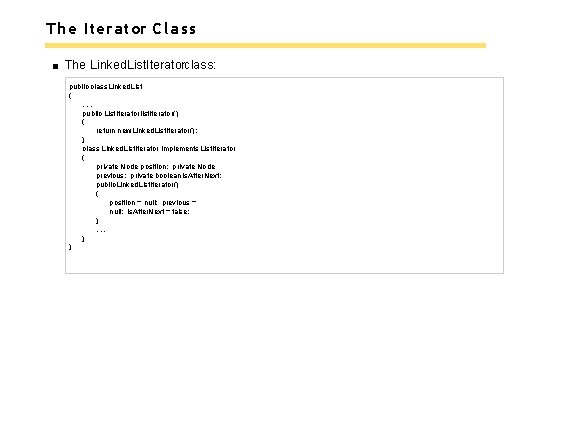 The Iterator Class The Linked. List. Iteratorclass: public class Linked. List {. . .