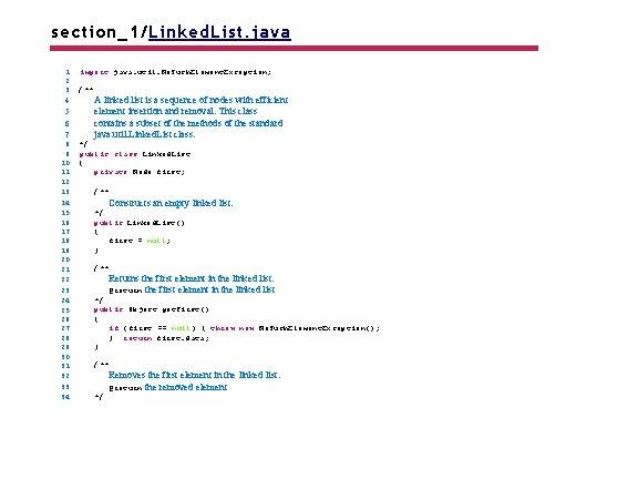 section_1/Linked. List. java 1 2 3 4 5 6 7 8 9 10 11