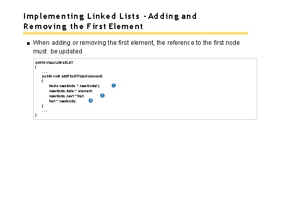 Implementing Linked Lists - Adding and Removing the First Element When adding or removing