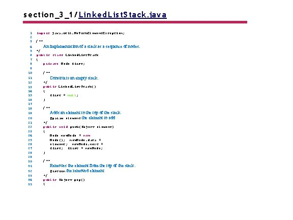 s ection_3_1/ Linked. Lis t. Stack. java 1 2 3 4 5 6 7