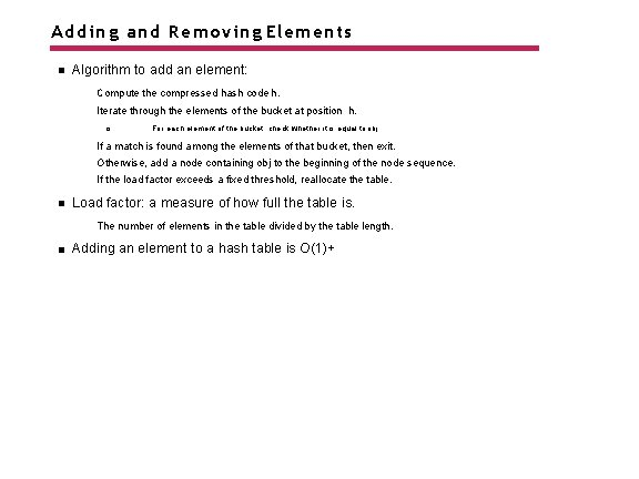 Adding and Removing Elements Algorithm to add an element: Compute the compressed hash code