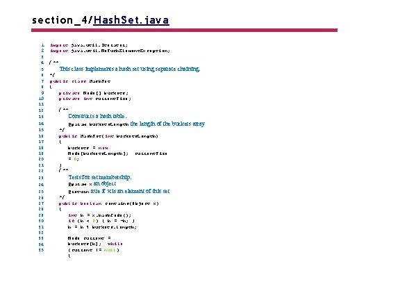 section_4/Hash. Set. java 1 2 3 4 5 6 7 8 9 10 11