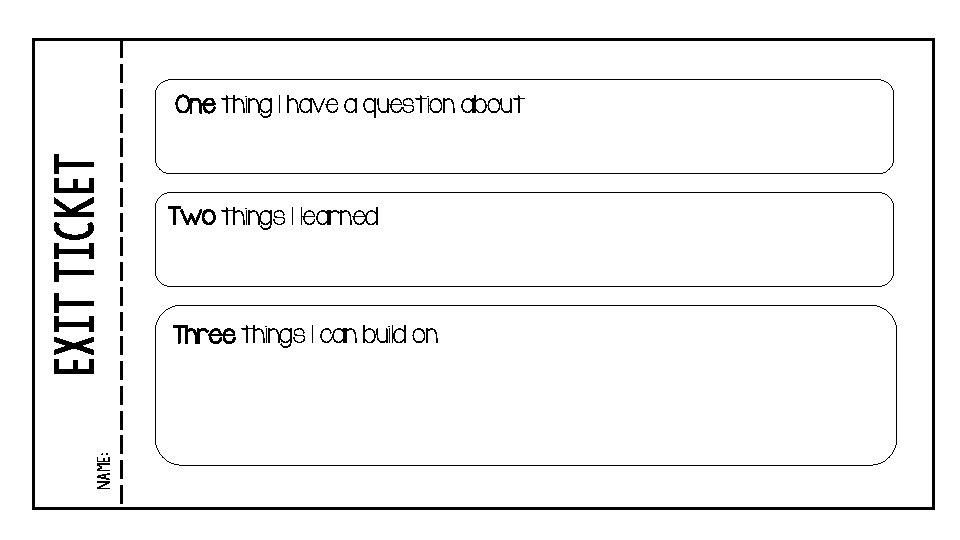 Name: EXIT TICKET One thing I have a question about Two things I learned