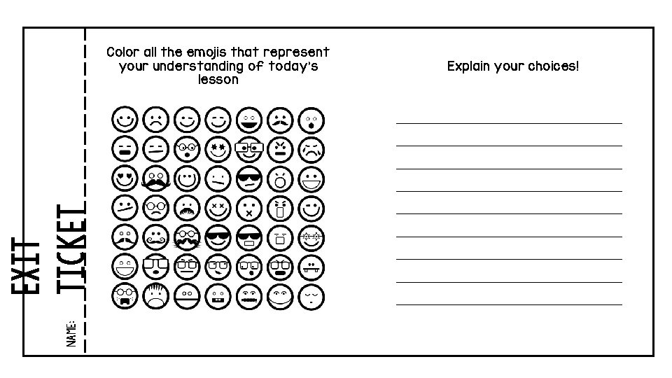 Color all the emojis that represent your understanding of today's lesson Explain your choices!