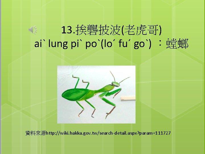 13. 挨礱披波(老虎哥) aiˋ lung piˋ poˋ(loˊ fuˊ goˋ) :螳螂 資料來源http: //wiki. hakka. gov. tw/search-detail.