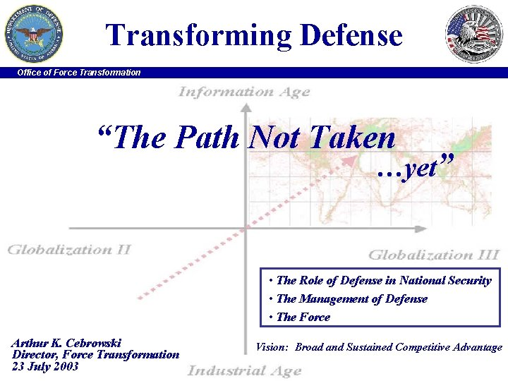 """Transforming Defense Office of Force Transformation """"The Path Not Taken …yet"""" • The Role"""