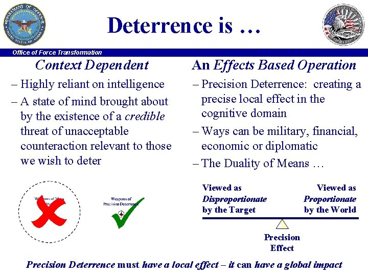 Deterrence is … Office of Force Transformation Context Dependent An Effects Based Operation –