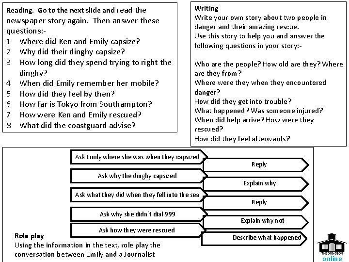 Reading. Go to the next slide and read the newspaper story again. Then answer