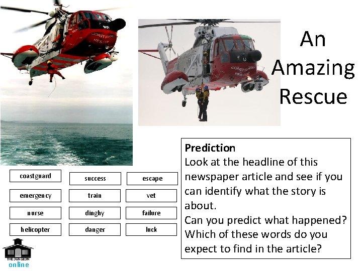 An Amazing Rescue coastguard success escape emergency train vet nurse dinghy failure helicopter danger