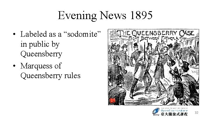 """Evening News 1895 • Labeled as a """"sodomite"""" in public by Queensberry • Marquess"""