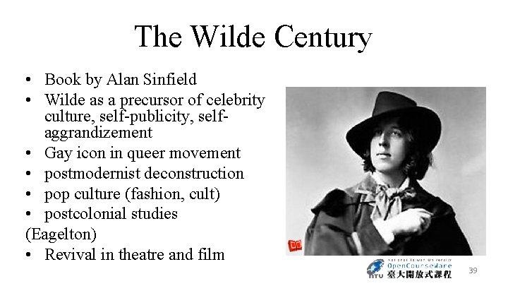 The Wilde Century • Book by Alan Sinfield • Wilde as a precursor of