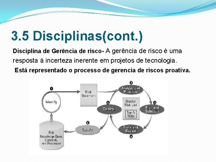 3. 5 Disciplinas(cont. ) Disciplina de Gerência de risco- A gerência de risco é