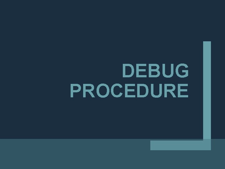 DEBUG PROCEDURE
