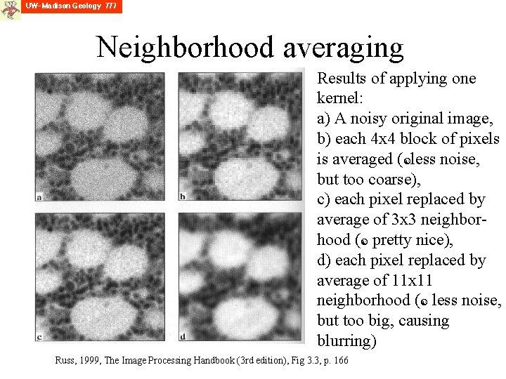 Neighborhood averaging Results of applying one kernel: a) A noisy original image, b) each