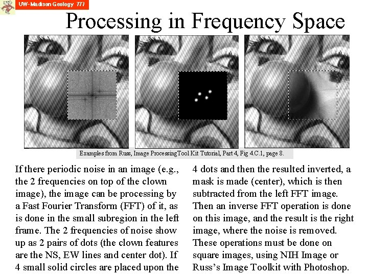 Processing in Frequency Space Examples from Russ, Image Processing. Tool Kit Tutorial, Part 4,