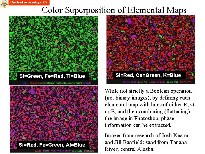 Color Superposition of Elemental Maps Si=Green, Fe=Red, Ti=Blue Si=Red, Ca=Green, K=Blue While not strictly
