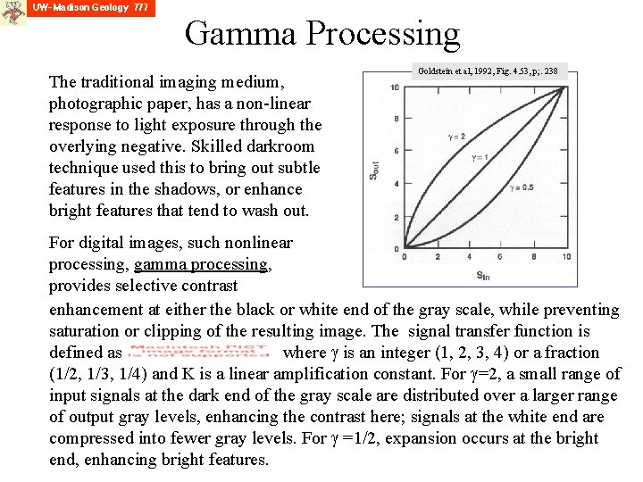 Gamma Processing The traditional imaging medium, photographic paper, has a non-linear response to light