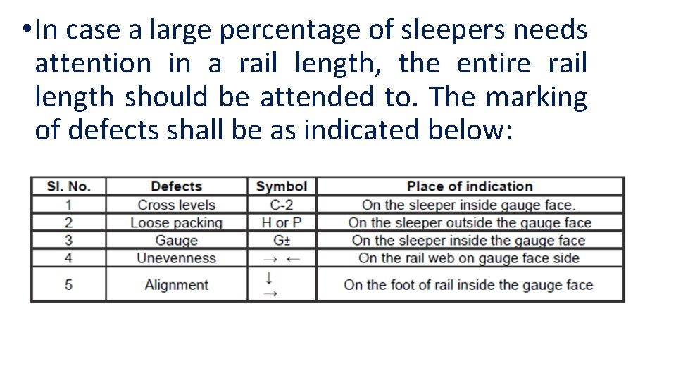 • In case a large percentage of sleepers needs attention in a rail