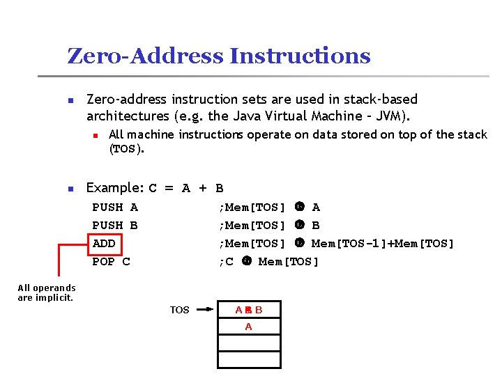 Zero-Address Instructions n Zero-address instruction sets are used in stack-based architectures (e. g. the