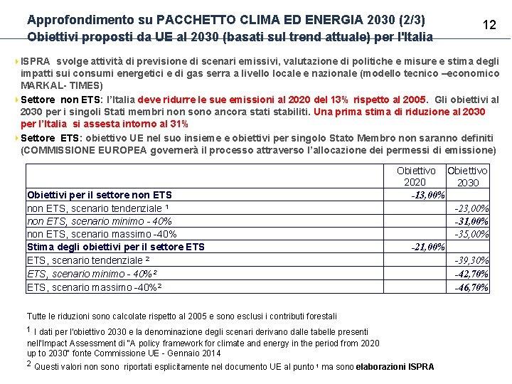 Approfondimento su PACCHETTO CLIMA ED ENERGIA 2030 (2/3) Obiettivi proposti da UE al 2030