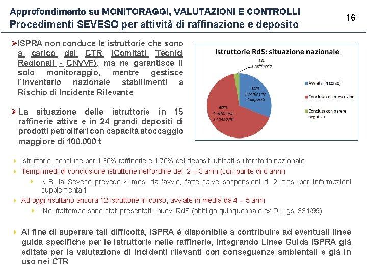 Approfondimento su MONITORAGGI, VALUTAZIONI E CONTROLLI Procedimenti SEVESO per attività di raffinazione e deposito