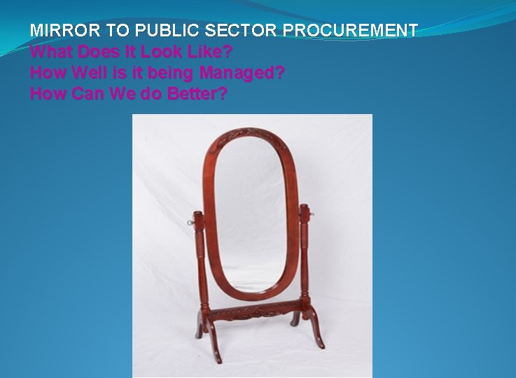 MIRROR TO PUBLIC SECTOR PROCUREMENT What Does It Look Like? How Well is it