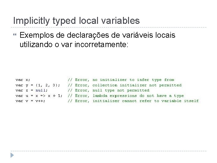 Implicitly typed local variables Exemplos de declarações de variáveis locais utilizando o var incorretamente: