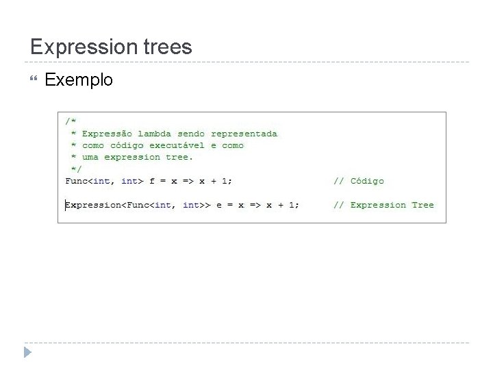 Expression trees Exemplo