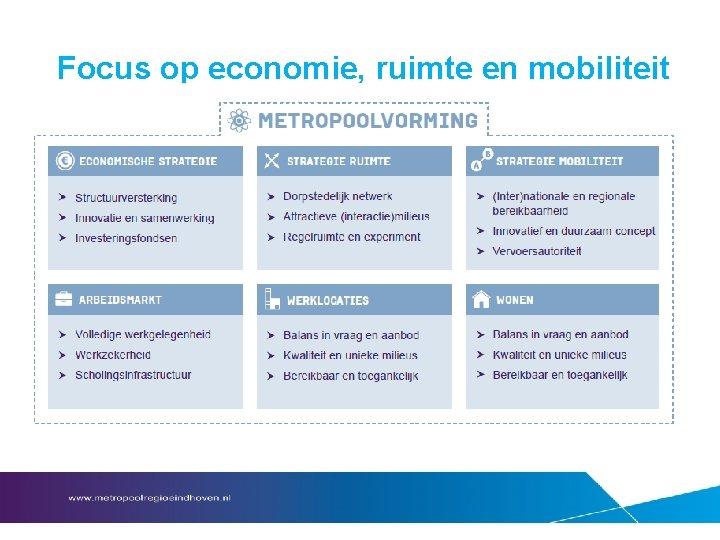 Focus op economie, ruimte en mobiliteit