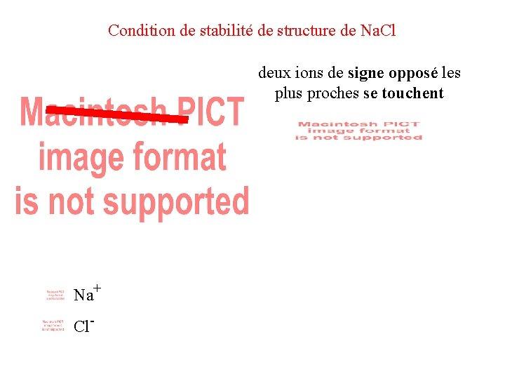 Condition de stabilité de structure de Na. Cl deux ions de signe opposé les