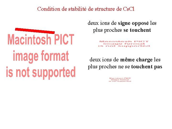 Condition de stabilité de structure de Cs. Cl deux ions de signe opposé les