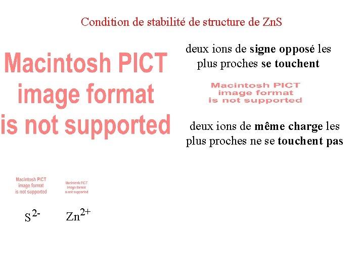 Condition de stabilité de structure de Zn. S deux ions de signe opposé les