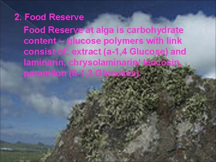 2. Food Reserve at alga is carbohydrate content -- glucose polymers with link consist