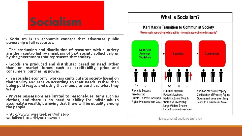 Socialism - Socialism is an economic concept that advocates public ownership of all resources.
