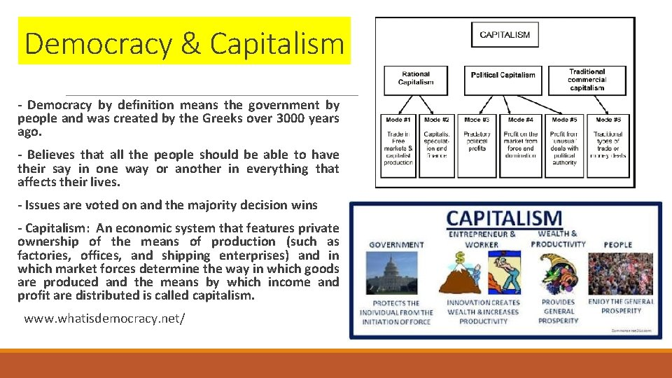 Democracy & Capitalism - Democracy by definition means the government by people and was