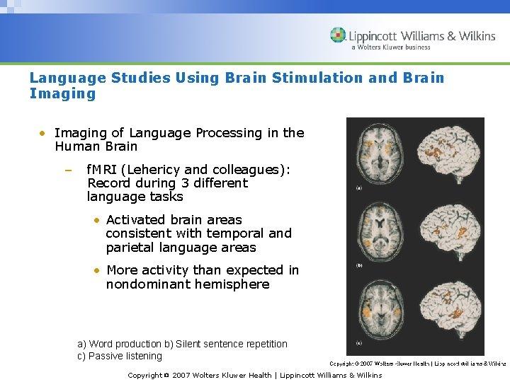 Language Studies Using Brain Stimulation and Brain Imaging • Imaging of Language Processing in