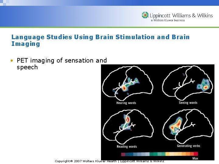 Language Studies Using Brain Stimulation and Brain Imaging • PET imaging of sensation and