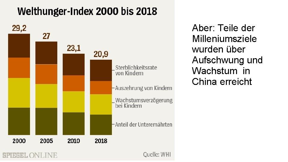 Aber: Teile der Milleniumsziele wurden über Aufschwung und Wachstum in China erreicht