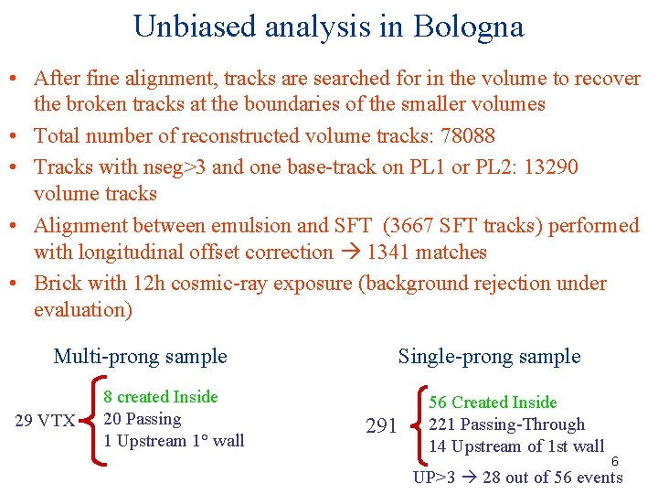 Unbiased analysis in Bologna • After fine alignment, tracks are searched for in the