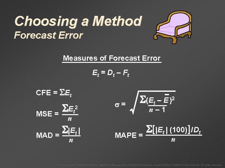 Choosing a Method Forecast Error Measures of Forecast Error E t = Dt –