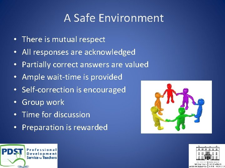 A Safe Environment • • There is mutual respect All responses are acknowledged Partially