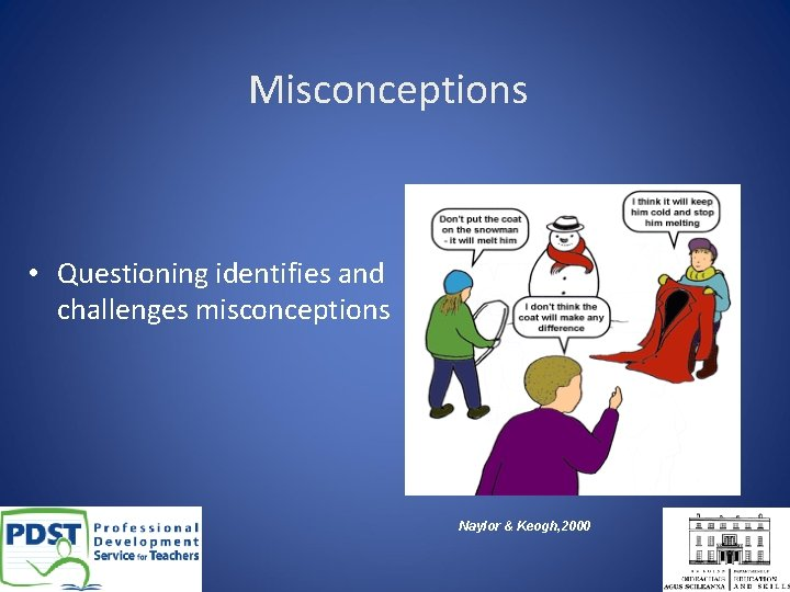 Misconceptions • Questioning identifies and challenges misconceptions Naylor & Keogh, 2000
