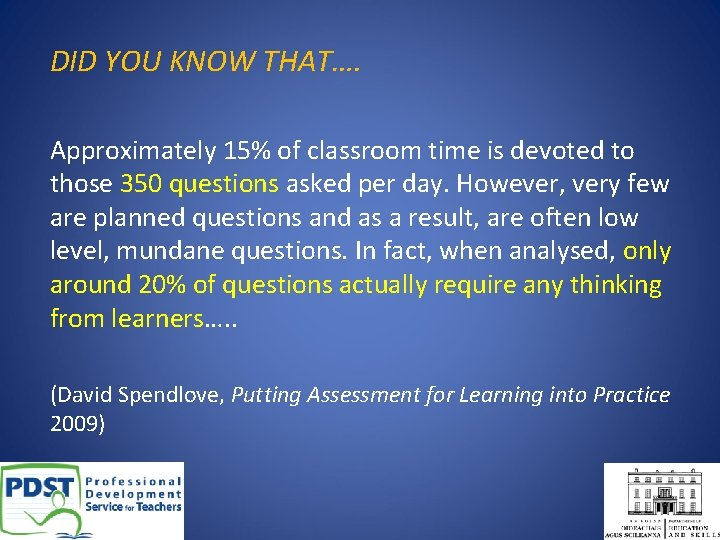 DID YOU KNOW THAT…. Approximately 15% of classroom time is devoted to those 350