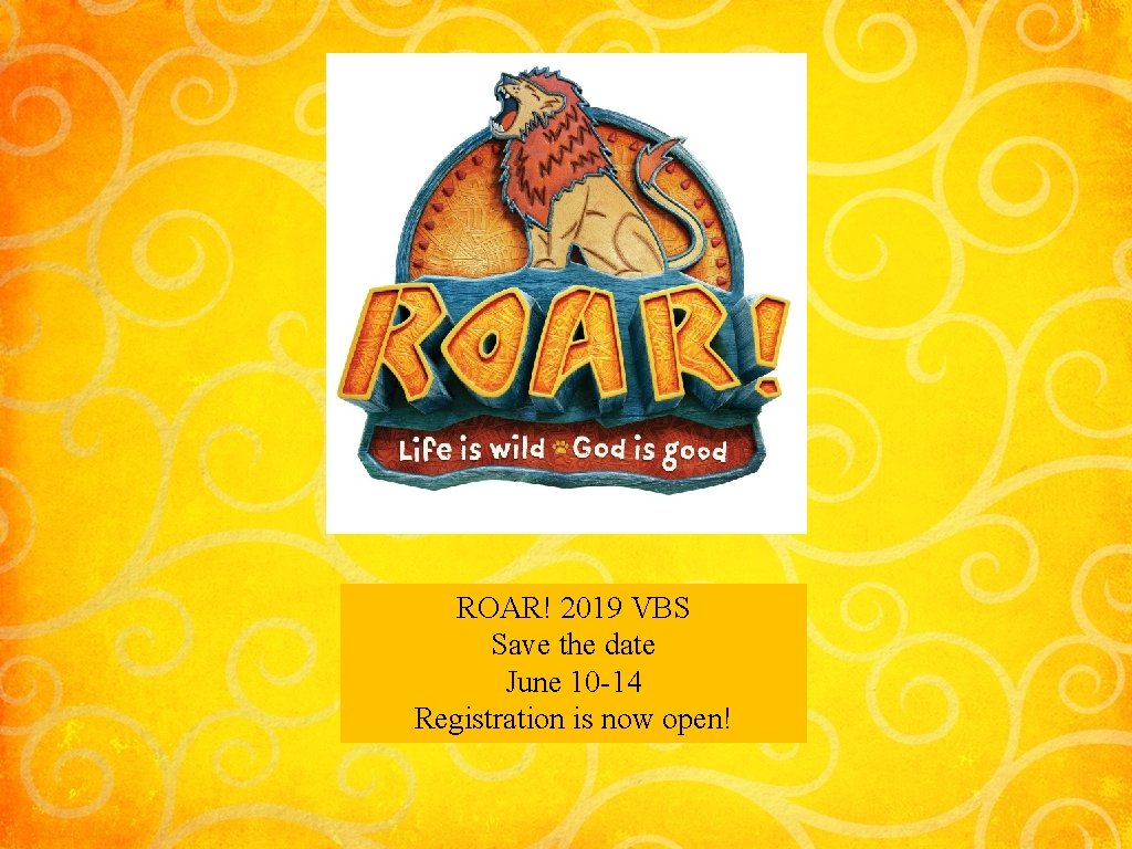 ROAR! 2019 VBS Save the date June 10 -14 Registration is now open!