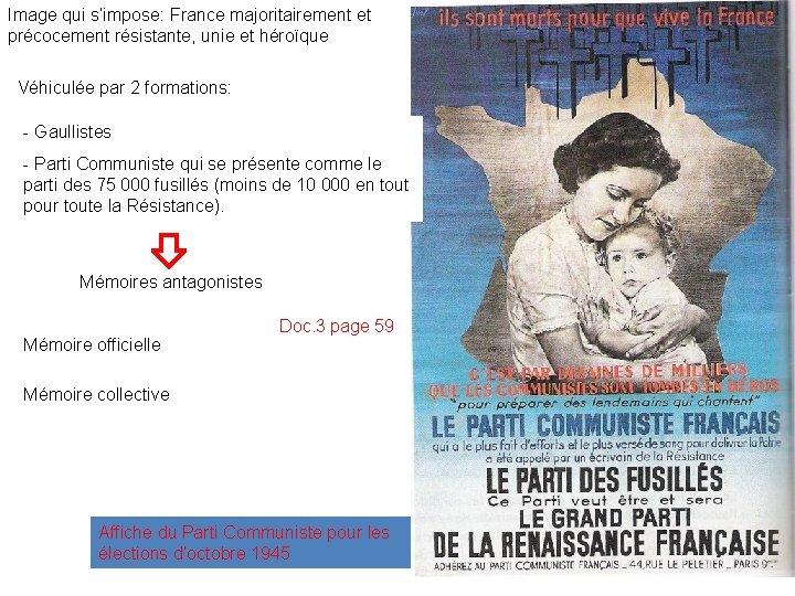 Image qui s'impose: France majoritairement et précocement résistante, unie et héroïque Véhiculée par 2