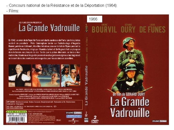 - Concours national de la Résistance et de la Déportation (1964) - Films: 1966