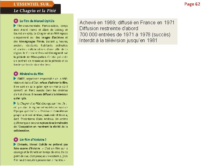 Page 62 Achevé en 1969; diffusé en France en 1971 Diffusion restreinte d'abord 700