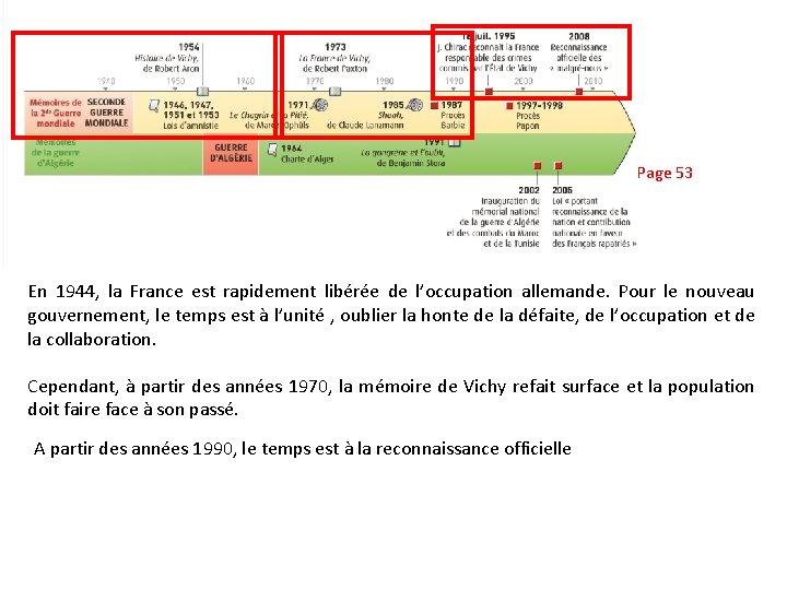 Page 53 En 1944, la France est rapidement libérée de l'occupation allemande. Pour le